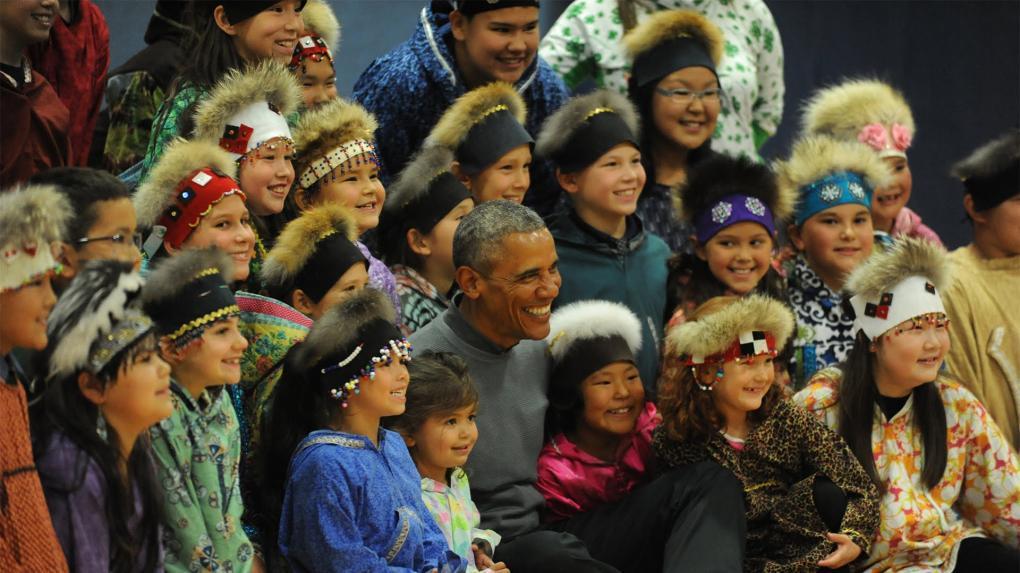 Alaszkai eszkimók Barack Obama volt amerikai elnökkel