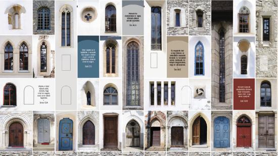 Templomrészletek a Protestáns Teológiai Intézet tűzfalán