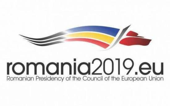 Stilizált farkas Románia EU-tanácsi elnökségének jelképe