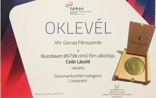 Csibi László Nussbaum 95736 című filmjét is díjazták a XIV. Göcsej Filmszemlén