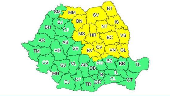 Lehűlés, szél és csapadék – sárga figyelmeztetés 16 megyében