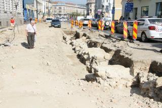 Római kori építőelemek a Híd-utcai kapunál
