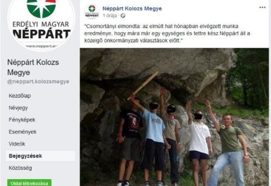Botrány lett az EMNP elnökéről közzétett karlendítős képből