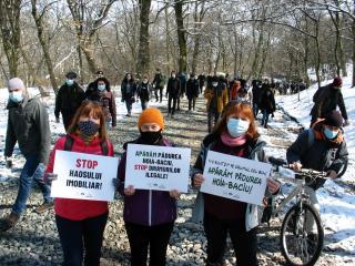 Felvonulás a Hója-erdő szélén tervezett ingatlanbefektetés ellen