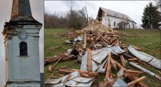 Beomlott a tacsi református templom tornya – még azelőtt kimentették az Erdélyben egyedi baziliszkusz-kazettát